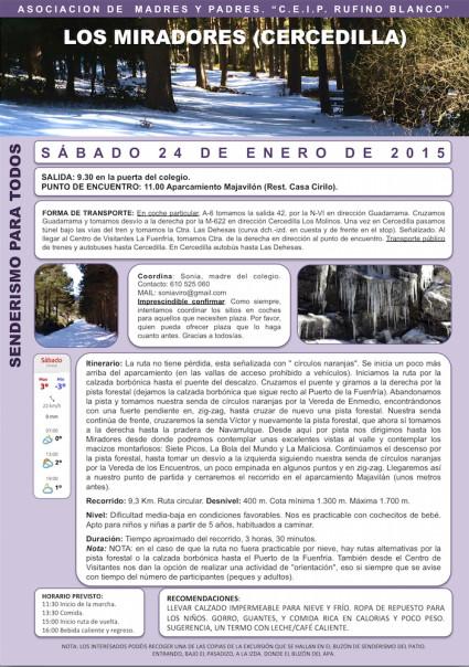 Senderismo Cercedilla 24 ene 2015